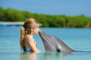 Girl and dolphin kiss - Obrázkek zdarma pro Android 640x480