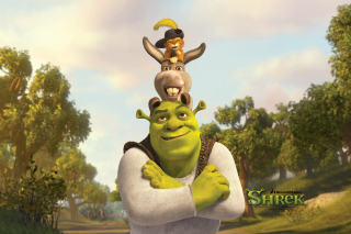 Shrek Donkey Puss In Boots - Obrázkek zdarma pro 1366x768
