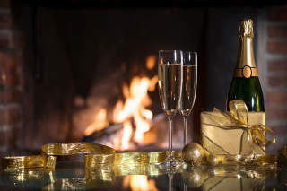 Champagne and Fireplace - Obrázkek zdarma pro Widescreen Desktop PC 1920x1080 Full HD