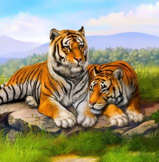 Tiger Family - Obrázkek zdarma pro 208x208
