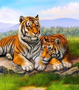 Tiger Family - Obrázkek zdarma pro Nokia Asha 309