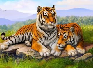 Tiger Family - Obrázkek zdarma pro Nokia Asha 205