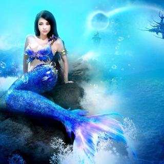 Misterious Blue Mermaid - Obrázkek zdarma pro iPad Air