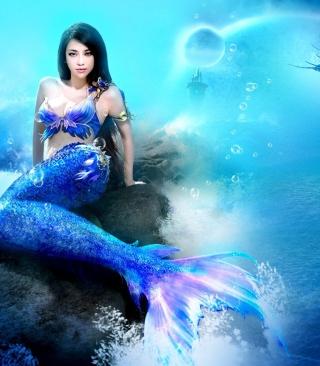 Misterious Blue Mermaid - Obrázkek zdarma pro Nokia Asha 306
