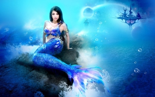 Misterious Blue Mermaid Background for Android, iPhone and iPad