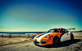 Free Orange Porsche 997 Picture for Android, iPhone and iPad