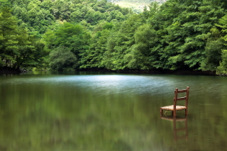 Chair In Middle Of Pieceful Lake Wallpaper for Android, iPhone and iPad
