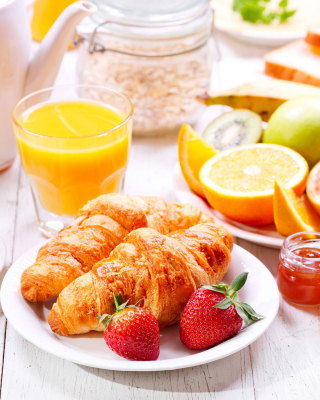 Breakfast with croissants and fruit - Obrázkek zdarma pro 750x1334