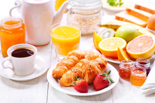 Breakfast with croissants and fruit - Obrázkek zdarma pro Fullscreen Desktop 800x600