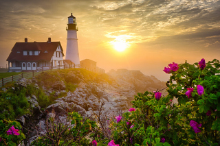 Lighthouse In Morning Mist Wallpaper for Android, iPhone and iPad