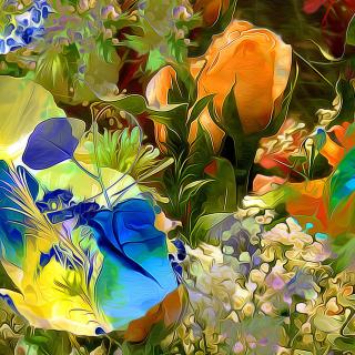 Stylized Summer Drawn Flowers - Obrázkek zdarma pro 320x320
