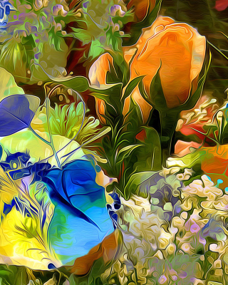 Stylized Summer Drawn Flowers - Obrázkek zdarma pro 640x960