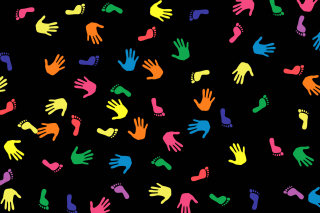 Colorful Hands And Feet Pattern - Obrázkek zdarma pro Fullscreen Desktop 1024x768