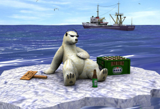 White Bear And Beer Background for Android, iPhone and iPad