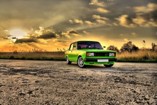 Green Russian Car Lada Wallpaper for Android, iPhone and iPad