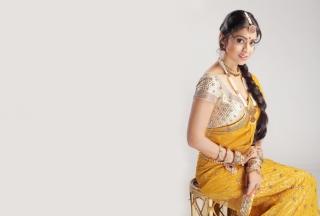 Shriya Saran In Yellow Saree Wallpaper for Android, iPhone and iPad