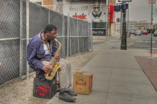 Jazz saxophonist Street Musician Wallpaper for Huawei M865