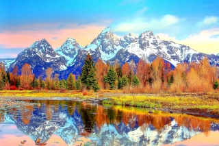 Lake with Amazing Mountains in Alpine Region Wallpaper for Android, iPhone and iPad