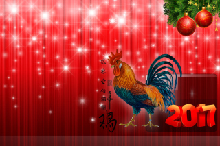 2017 New Year Red Cock Rooster Wallpaper for Android, iPhone and iPad