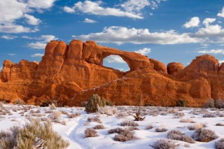 Free Red Canyon And Snow Picture for Android, iPhone and iPad