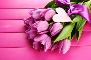 Purple Tulips Bouquet Is Love Wallpaper for Android, iPhone and iPad