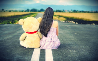Girl And Her Bear Picture for Android, iPhone and iPad