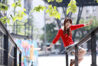 Pretty Asian Girl In Red Jumper Wallpaper for Android, iPhone and iPad