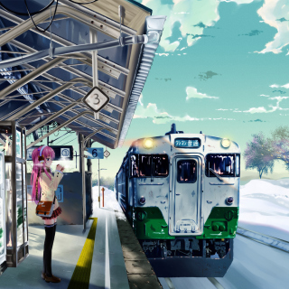 Anime Girl on Snow Train Stations - Obrázkek zdarma pro iPad mini