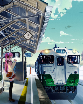 Anime Girl on Snow Train Stations - Obrázkek zdarma pro 176x220