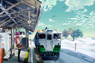 Anime Girl on Snow Train Stations - Obrázkek zdarma pro Desktop Netbook 1366x768 HD