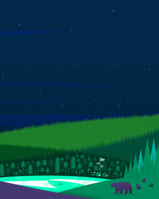 Graphics night and bears in forest - Obrázkek zdarma pro 320x480