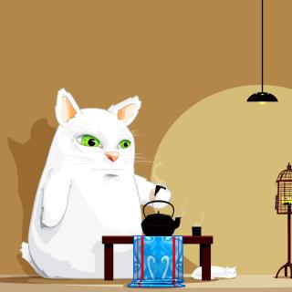 Japanese Cat Breakfast - Obrázkek zdarma pro 320x320