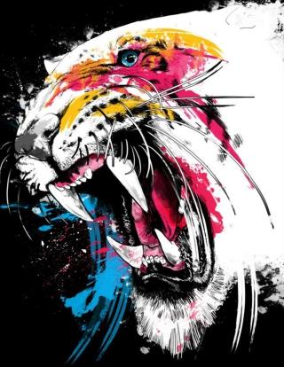 Tiger Colorfull Paints - Obrázkek zdarma pro Nokia Asha 300