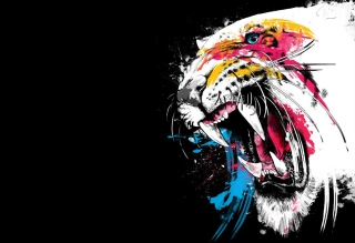 Tiger Colorfull Paints - Obrázkek zdarma pro 220x176