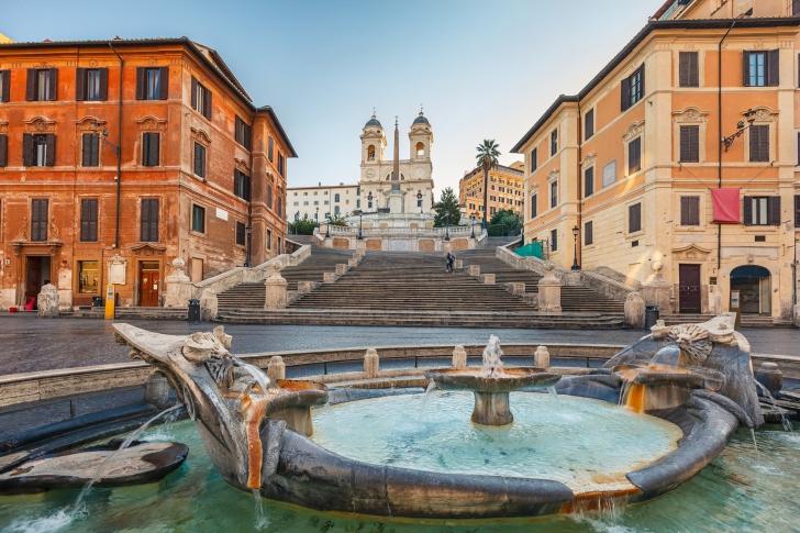 Spanish Steps in Rome and Fontana della Barcaccia wallpaper