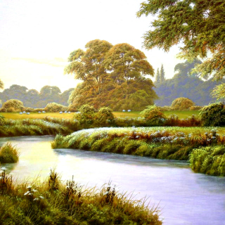 Terry Grundy Autumn Coming Landscape Painting - Obrázkek zdarma pro iPad 3