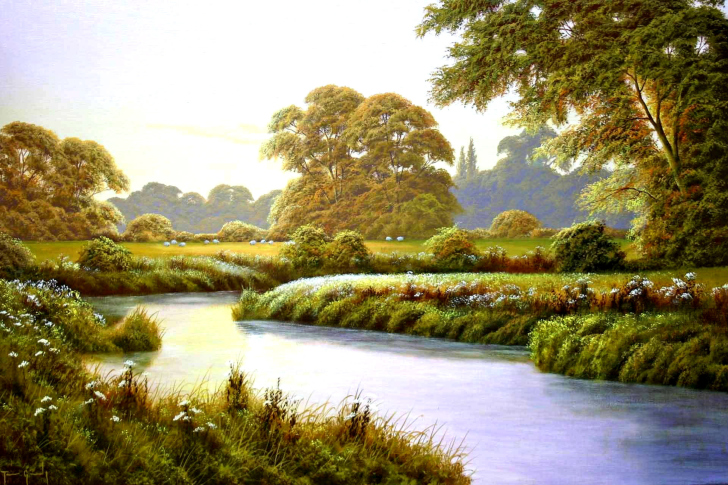 Terry Grundy Autumn Coming Landscape Painting wallpaper