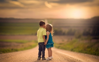Cute Kids Kiss Wallpaper for Android, iPhone and iPad