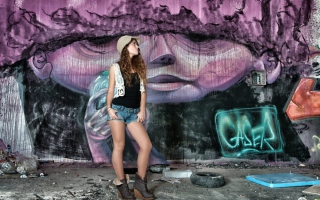 Girl In Front Of Graffiti Wall Background for Android, iPhone and iPad