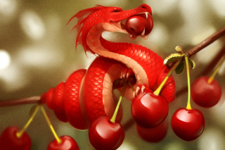 Dragon with Cherry Picture for Android, iPhone and iPad