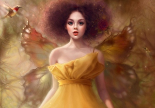 Fairy In Yellow Dress Wallpaper for Android, iPhone and iPad