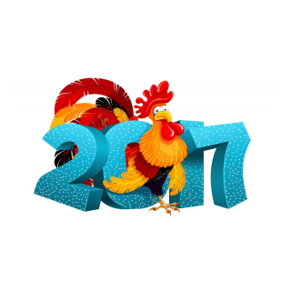 2017 New Year Chinese Horoscope Red Cock Rooster - Obrázkek zdarma pro 208x208