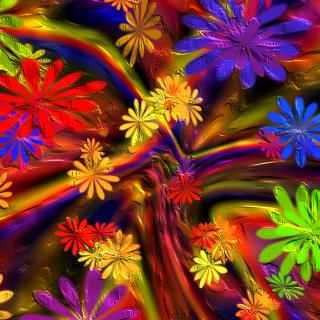 Colorful paint flowers - Obrázkek zdarma pro iPad 2