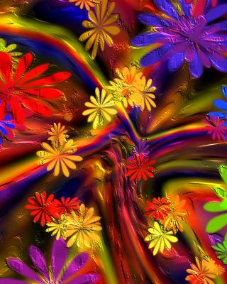 Colorful paint flowers - Obrázkek zdarma pro Nokia Asha 306