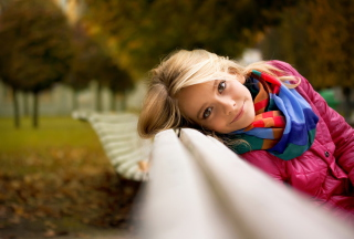 Cute Blonde Girl At Walk In Park Wallpaper for Android, iPhone and iPad