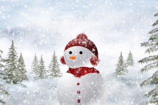 Snowman In Snow Background for Android, iPhone and iPad