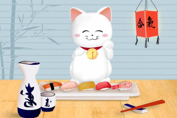 Maneki Neko Cat HD wallpaper