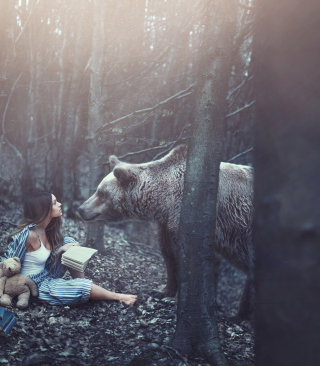 Girl And Two Bears In Forest By Rosie Hardy Photographer - Fondos de pantalla gratis para Huawei G7300