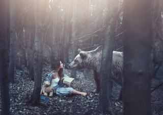 Free Girl And Two Bears In Forest By Rosie Hardy Photographer Picture for Android, iPhone and iPad