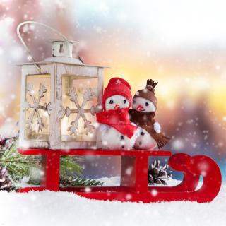 Snowman Christmas Figurines Decoration - Obrázkek zdarma pro iPad 2